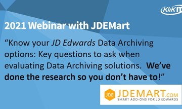 Questions to ask when choosing a JD Edwards (JDE) data archiving solution